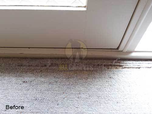 very teared damaged carpet before repairing and patching